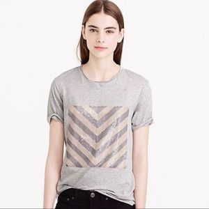 J Crew Top Small Gray Sequin Square Tee Shirt Gray